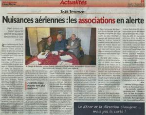 """Fabien HERRAN, """"Nuisances aériennes : les associations en alerte"""", Le Républicain Nord-Essonne, 13 février 2014, p. 9. (6)"""