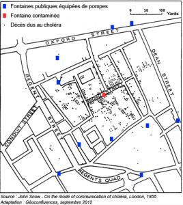 Carte de John SNOW sur  l'épidémie de choléra à Londres en 1854. Version adaptée par Géoconfluences, ENS de Lyon, 2012.