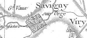 Extrait de la carte de Cassini (XVIIIe siècle), secteur de Savigny-sur-Orge.