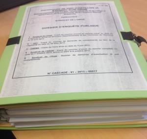 """Dossier d'enquête public """"Orge-Duparchy"""" consulté à Viry-Châtillon le 15 mars 2014. SMM."""
