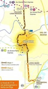 Ligne T7 Villejuif - Juvisy-sur-Orge. STIF, janvier 2014.