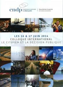 Couverture de la plaquette du colloque international organisé par le CNDP en juin 2014. CNDP.