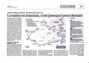 « Paray-Vieille-Poste – Plateau de Saclay. Le métro en Essonne, c'est (presque) pour demain », Le Parisien, 24 septembre 2014.