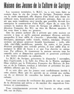Bulletin municipal SSO octobre 1965 MJC