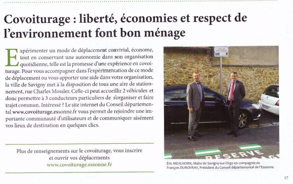 Article traitant de la mise en place d'une de covoiturage issu du magazine Vivre à Savigny-sur-Orge Janvier-Mars 2016 page 17