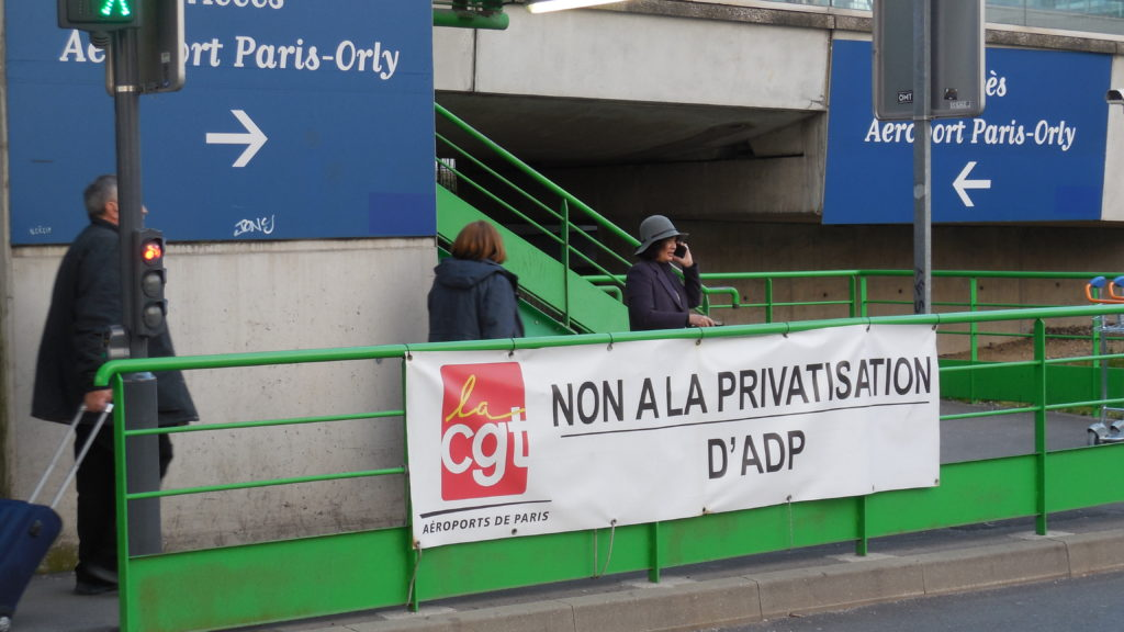 « Non à la privatisation d'Aéroport de Paris », Aéroport de Paris-Orly, 18 mars 2019. © Photographie Bernard Mérigot/CAD.